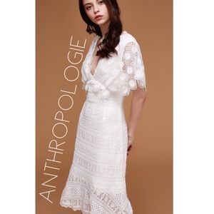 NWT Anthro Foxiedox white crochet midi dress L